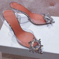 Kristal PVC Slingback Sandalet Kadınlar Begum Cam Yüksek Topuklu Ayakkabı Kadın Şeffaf Gümüş Pompalar Tasarımcı Düğün Sandalias Mujer