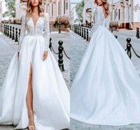 Milla Nova Satin Robes De Mariée Sexy V cou V ecque Robes de mariée à Manches longues Princesse Side Split Sweep Share Garden Robe de Mariage