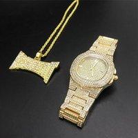 Relógios de pulso de ouro luxo hip hop jóias elegante relógio colar conjunto de combo homens cadeia gelo fora cubano para
