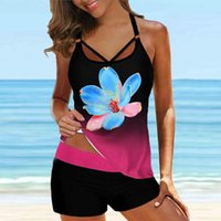 Women's Vintage Floral Print Swimwear Women 2021 Two Piece Tankinis Swimsuits Set Plus Size Swim Bathing Suit Beach 5XL