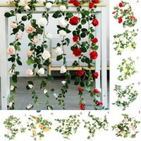 Decorative Flowers & Wreaths 2m Artificial Flower Rose Ivy Vine Wedding Decoration String Home Hanging