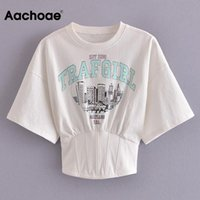 Women's T-Shirt Aachoae Fashion Printed Summer T Shirt Women O Neck Elastic Waist Streetwear Tops Batwing Short Sleeve Casual Tee Shirts