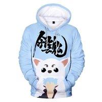 Erkek Hoodies Tişörtü 3D Baskı Gintama Sevimli Anime Erkek Moda Hip Hop Harajuku Streetwear Kazak Marka Tasarımcısı Sonbahar / Kış