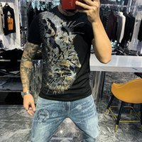 Fashion Tee Lion Rhinestones With Diamond T Shirts Men Summer Tops Tees Mens Designer Tshirts Luxury O Neck Slim Fit Hip Hop High Quality