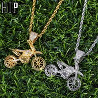 Pendant Necklaces HIP Hop Full Iced Out Bling CZ Cubic Zircon Copper Motorcycle Pendants & For Men Jewelry With Tennis Chain