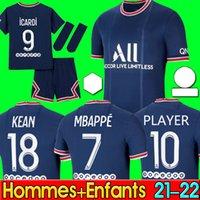 Mbappe Kean Soccer Jersey 21 22 Maillots de Football Shirts 2021 2022 Marquinhos Verratti Kimpembe الرجال + أطفال كيت الجوارب زي hommes + enfants مايلوت دي القدم