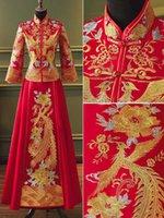 고대 여성 웨딩 드레스 골드 라인 자수 피닉스 꽃 중국 신부 결혼 cheongsam 정장 클래식 qipao 민족 의류
