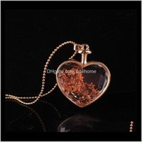 Necklaces & Pendants Drop Delivery 2021 Fashion Jewelry Romantic Crystal Glass Heart Shaped Floating Locket Dried Flower Plant Pendant Chain