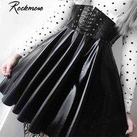 ROCKMORE PU кожаный ночной клуб A-Line Mini юбка женщин молния готический панк стиль высокая талия сексуальный микро над колено юбки женщин 210323