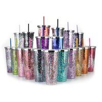 glitter water cup large capacity 24oz straight plastic fashi...