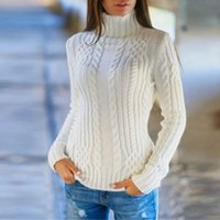 Women's Sweaters Turtleneck Sweater Women Womens Long Sleeve High Collar Pullover Knitted Jumper Tops Blouse Hiver Dames #15