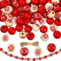 Craft Tools 120Pcs DIY Christmas Snowflake Wooden Bead Wood Round With Rope Polished Spacer Ball Ornaments