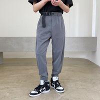 Men's Adjustable Hem Elastic Waist Comfortable Fabric Korean Style Casual Ankle-length Suit Pants Male Women Harem Pant Trousers