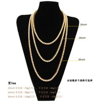 Men's diamond ice out tennis gold chain necklace fashion hip-hop jewelry 3 4 5 mm gift party with box