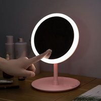 Led Light Makeup Mirror Storage LED Face Mirror Adjustable Touch Dimmer USB Lamp Vanity Backlit Mirror Table Cosmetic