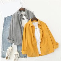 Fashion Retro Corduroy Shirts Womens Hong Kong Flavor Tops And Blouses Long Sleeve Spring Ladies Solid Loose Style Shirt Women's &
