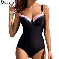 المرأة ملابس السباحة مثير عالية الخصر عارية الذراعين الخامس الرقبة قطعة واحدة ملابس السباحة خياطة الشاطئ شاطئ البحر بلون مغاير بيكيني زائد الحجم 210423