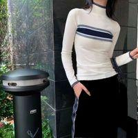 النساء البلوزات قمصان محبوك البلوزات الرقبة عالية الأكمام طويلة البلوز لسيدة ضئيلة نمط مع خطابات نمط قميص متماسكة الصوف تيز قمم آسيا حجم S-L