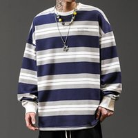 Men's Hoodies & Sweatshirts Men Hip Hop Sweatshirt Pullover Retro Striped Harajuku Streetwear Cotton Autumn 2021 Hoodie Blue White Red