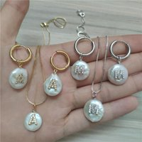 Initial 26 Alphabet Letter Charm White CZ Pendant Choker My Name Necklace Hoop Woman Girl With A Pearl Earring Jewelry Set Earrings &