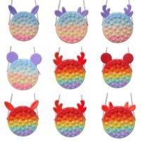 Tiktok Rainbow Macaroon Fidget Bubble Chain Bag Purses Kids Boy Girls Novel Cool Design Crossbody Fanny Pack Push Pop Sensory Puzzle Toys Early Leaning Education