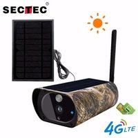 Cameras SECTEC Outdoor Solar IP Camera Wifi Infrared 4G SIM Card PIR Video 1080P Battery Wireless Hunting Surveillance