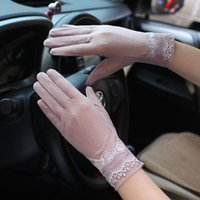 Five Fingers Gloves Summer Women Sexy Lace Thin Sunscreen Touch Screen Silk Soft Embroidery Flower Female Elegant Skid Driving