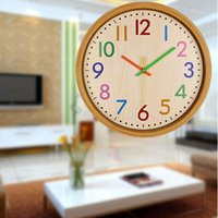 Children Room Wall Clock 12 Inch Colorful Numbers Silent For Home Decor HUG-Deals Clocks