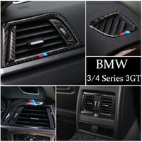 Carbon Fiber Car Stickers Center Console Outlet Air Conditioning Vent Decorative Cover Frame for BMW 3 4 Series 3GT F30 F31 F32 F34 F36 Auto Accessories