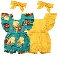 Yenidoğan Bebek Kız Giysileri Sinek Fırfır Romper Tulum Bandı 2 adet Kıyafetler Set 48 Y2
