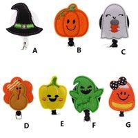 Fashion Key Rings Halloween Pumpkin Turkey Nurse Retractable Holiday Felt ID Badge Holder Reel With Alligator Clip For Gift