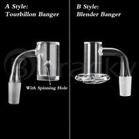 Dois estilos Beveled Edge Fumar 25mmod Tourbillon / Spinning 20mmod Blender Banger 10mm 14mm 18mm 45 * 90 Macho feminino pregos para bongos de vidro