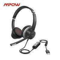 MPOW HC6 Pro USB Headset com fio com microfone duplo no ouvido computador de fone de ouvido controle em linha mudo para o skype webinar pc fones de ouvido férfono