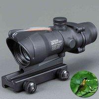 Trijicon Jacht Scope Acog 1x32 Tactical Red Dot Sight Real Green Fiber Optic Riflescope met Picatinny Rail voor M16 Rifle