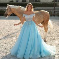 2021 Arabic Style Light Blue Evening Dresses Party Wear Off the Shoulder Sequins Prom Dress A Line Women Formal Robes De Soirée