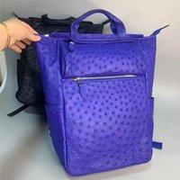 حقيبة الأعمال عارضة نمط حقيقي حقيقي حقيقي النعامة البشرة الرجال كبير الأزرق السفر جلد طبيعي الذكور أعلى مقبض حقيبة حزمة