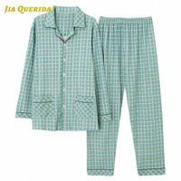 Homem roupas sleepwear estilo estilo casual estilo roupas roupas pijama conjunto desligar collar manga comprida longa calças pijamas conjunto j4x8 #