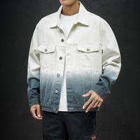 2020 남자 그라디언트 진 자켓 겉옷 세련된 워시 데님 코트 새로운 남성 대형 스프링 코트