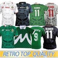 1998 المكسيك الرجعية خمر بلانكو لكرة القدم الفانيلة زي كرة القدم قميص التطريز logo camiseta futbol