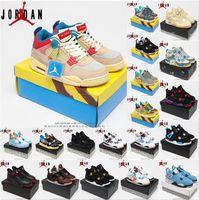 Air Jordan 4 x Off-White AJ4 shoes  4s Union Noir Union Guava Buz Jumpman Erkek Ayakkabı Yelken Mantar Neon Metalik Mor Basketbol Sneakers Kara Kedi Bred Eğitmenler # 36-47 #