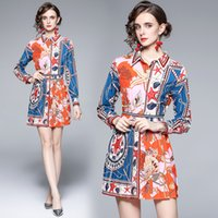 2021 Autumn Shirt and Skirt Long Sleeve Printed Womens Two Piece Set High End Trend Ladies Blouse Pleated Skirt Suits