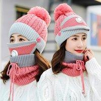 3 unids / set women hechas de punto invierno engrosamiento cálido bobble gorra bufanda máscara respirador válvula botón cuerda ajustada gorros dama moda 12 8cy g2