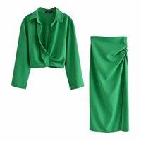 NLZGMSJ ZA Etekler Bayan İki Parçalı Set Keten Karışımı Kırpılmış Kadın Gömlek Dürdü Etek Sonbahar Moda Gündelik Elbise Setleri 06 210825