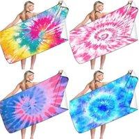 Arco iris corbata teñida playa toalla de toalla bebé swaddle wraps doble lateral cuadrado secado rápido playa toalla cojín baño toalla g424p3e