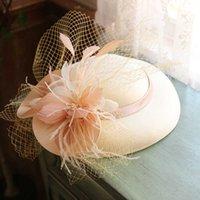 Femmes Grand Brim Sinamay Fascinator chapeau Cocktail Mariage Partie de mariage Écorcheuse de mode Headwear Formal Fleur Cheveux Accessoires