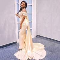 Off the Shoulder Satin Mermaid Evening Dresses with Ruffles Sweep Train Long Formal Prom Party Gowns