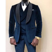 3 Piece Velvet Men Suits for Wedding Prom Custom Made Groom Tuxedos Male Fashion Clothes Set Jacket Vest with Pants
