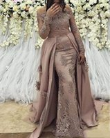 Mermaid Dresses Evening wear off shoulder with sleeves and train Lace Applique Trumpet Long Prom Formal Dress Pageant Gown