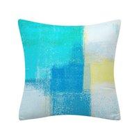 Cubiertas de funda de almohada de lanza azul 18x18 cojín decorativo cubierta gris arte abstracto pintura de pintura de la funda de almohada para sofá habitación de dormitorio decoración lla4534