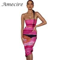 Vestidos casuales Amecire Gorgeous Malla Impresión Mujer Vestido elegante Multicolor sin tirantes ruchados Midi Precioso Cumpleaños Trajes de fiesta Desgaste